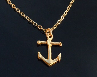 Gold Anchor Necklace on a 14kt Gold filled Chain