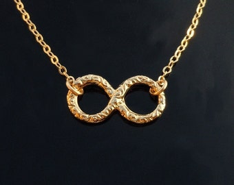 Gold Infinity Necklace on a 14kt Gold Filled Chain