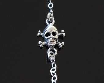 Tiny Skull Necklace In Sterling SIlver or Gold Set Off Center