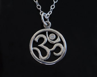 Diamond OM Pendant Necklace in Sterling Silver