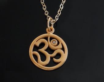 Diamond Om Pendant Necklace in Vermeil with a Genuine Diamond