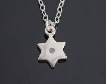 Tiny Diamond Star of David Necklace in Sterling Silver