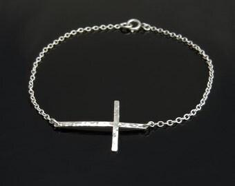 Sideways Cross Bracelet in Hammered Sterling Silver- New