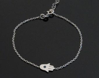 Mini Sideways Hamsa Bracelet in Sterling Silver or Gold or Rose Gold