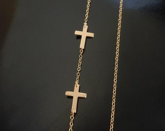 Double Sideways Cross Necklace in 14kt Gold Filled