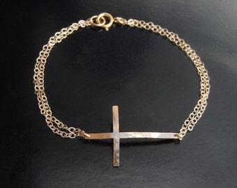 Sideways Cross Bracelet in Hammered 14kt Gold Filled- New