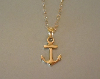 Anchor Necklace in 14kt Solid Gold