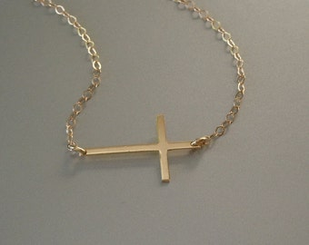 14KT GOLD Kelly Ripa Cross Necklace Set Center