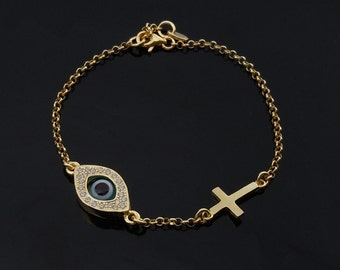 Celebrity Evil Eye and Cross Bracelet in Gold as Seen On Celebrities