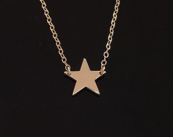 Celebrity Star Necklace - 14kt Solid Gold : White, Rose or Yellow
