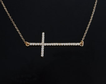 Sideways Cross Necklace - Longer Cross with CZ's in Gold