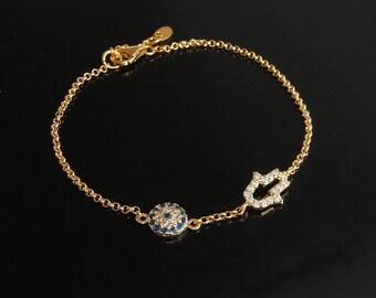 Evil Eye and Hamsa Bracelet in Gold