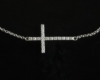 Kelly Diamond Sideways Cross Necklace -  Set Center 14kt White Gold