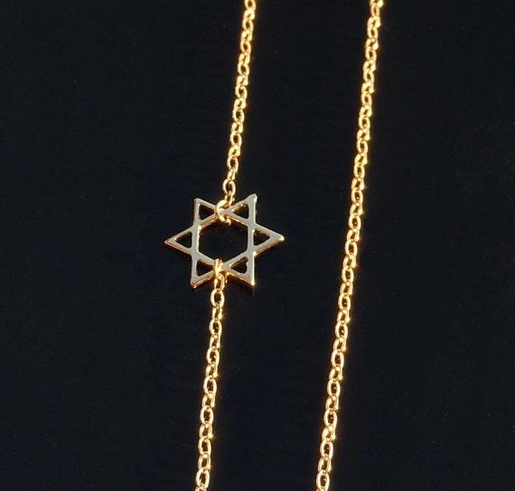 14kt Gold Star of David Necklace set Off Center