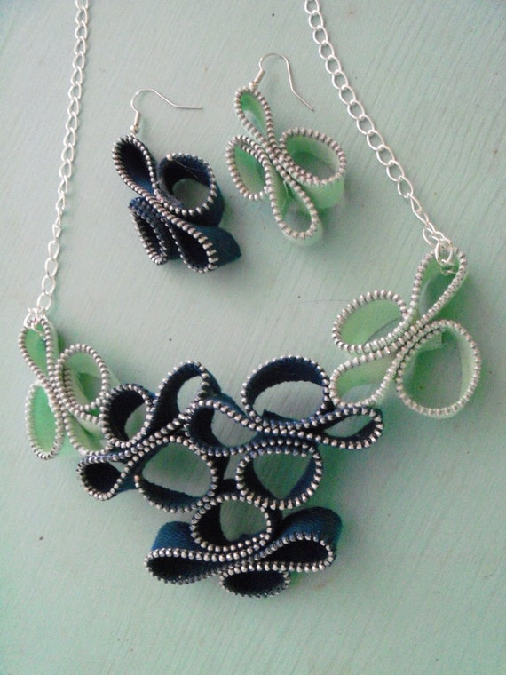 Sale Navy Seafoam Zipper Sculpture Necklace and Earring Set OOAK