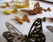 RESERVED for Jenn Surprenant // SALE Autumn Harvest 3D Butterfly Art - Chocolate Brown. Rust. Gold. Warm Beige. 8 X 8 inches