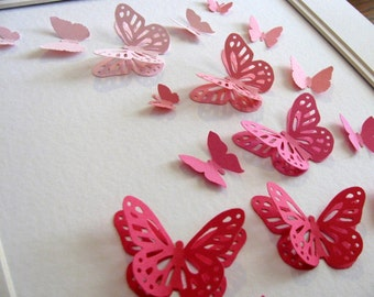 Pink Ombre 3D Layered Butterfly Art or YOUR CHOICE of Colour. Paper Butterfly Art. Decor. 8x8 inches. Decor. Made to Order