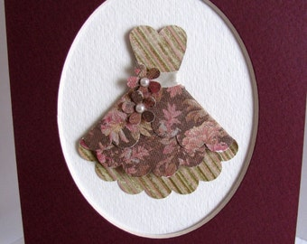 MATTED Burgundy Floral 3D Dress Art in 5x7 Single Oval Mat Presentation Pack Ready to Frame.