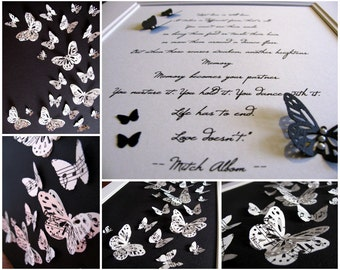 SET of 2 - Upcycled 3D Music Butterfly Art PLUS Favourite Line of Poem or Song with Butterfly Accents. Both 8x10. Made to Order