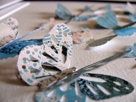 INVENTORY CLEARANCE Shabby Lace and Robins Egg Blue 3D Butterfly Art - 8x8 inches - READY to Ship