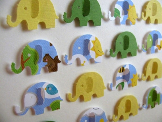 HALF PRICE Yellow Green Blue - 3D Baby Elephant Whimsy Collage - 5x7