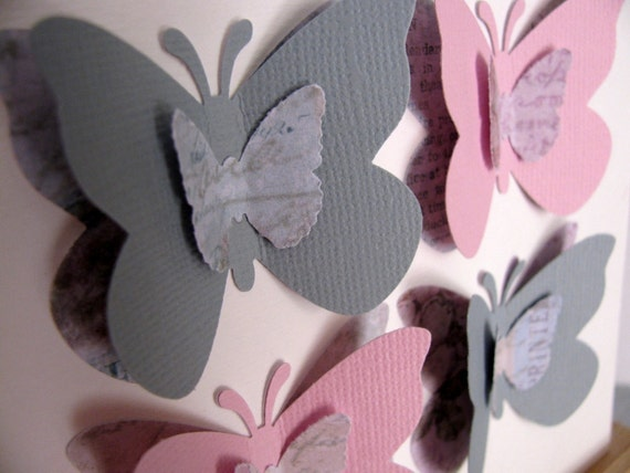 INVENTORY CLEARANCE Shabby Pink and Gray Tri-Layered 3D Butterfly Art. Whisper. Decor. 5x5 inches
