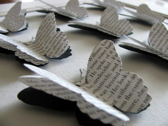 9x12 Pride & Prejudice Recycled 3-Layered Large Sized Butterflies - Bonus Gift Tag Card