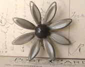 1960's  Vintage Brown and Beige Daisy Enamel Flower Brooch