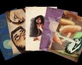 NEW Postcard set of 5- Weird girl theme Vol. 2
