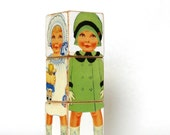 Wood toy Paper Doll Blocks Babies wooden block puzzle shabby chic nursery decor