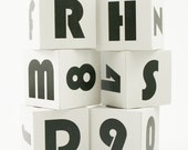 Mod Wooden ABC Blocks modern wood baby gift retro gray nursery decor - set of 6