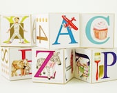 Educational Toy ABC Wooden Blocks Original Artwork Modern Nursery Decor Baby Name Letter Blocks