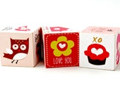 Woodland Love Baby Blocks Owl Bird Hedgehog Red and Pink I Love You Wooden Toy