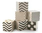 JUMBO Black and White Chevron and Polka Dot Wood Toy Blocks mod gray brown eco friendly children newborn photo prop