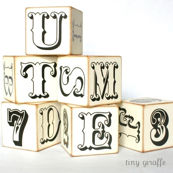 Wooden abc Children's Blocks - Black and White Simply Vintage