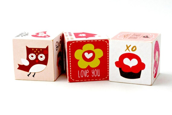 Woodland Love Wooden Blocks owl and cupcake baby toy