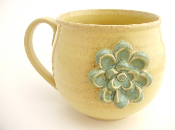 Little Flower Mug in Sage on Buttery Yellow