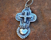 Sterling Silver Cross Over the Burning Heart Cruz del Corazón Ardiente Pendant
