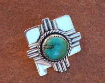 Sterling Silver and Turquoise Zia Sun Symbol Over New Mexico Southwestern Native Style