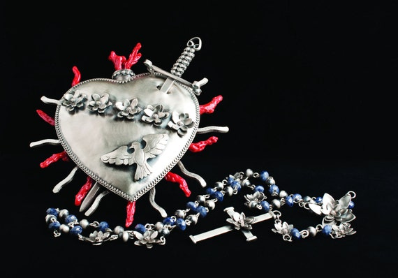 Pure Heart of Mary Sterling Silver and Coral Rosary Box with Sapphire Rosary