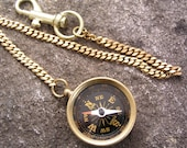 Brass Pocket Compass with Chain
