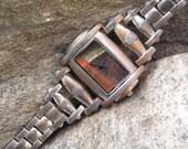 Multicolor Dial Copper Face Watch Bracelet Wristwatch