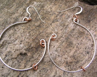 Sterling Silver Hanging Hoop Earrings with Copper