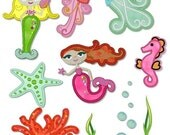 Applique MYSTICAL MERMAIDS SET  4x4 5x7  Machine Embroidery Design  Instant