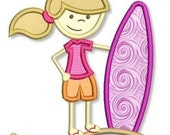 SURFER GIRL Applique 4x4 5x7  Machine Embroidery Design surf beach board  INSTANT Download