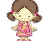Cute GIRL in A-Line DRESS Applique 4x4 5x7  Machine Embroidery Design  INSTANT