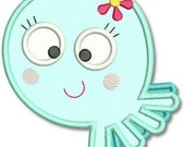 Cutie OCTOPUS Girl Applique 4x4 5x7  Machine Embroidery Design whimsical sea ocean life animal  INSTANT Download