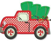 Christmas TRUCK with TREE Applique 4x4 5x7 6x10 Machine Embroidery Design INSTANT