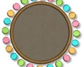 Candy Dots Applique FONT FRAME 4x4 5x7 6x10 Machine Embroidery Design Boy Girl  INSTANT Download