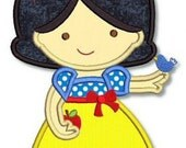 Cute Princess WHITE as SNOW 4x4 5x7 6x10 machine Embroidery Design  INSTANT Download